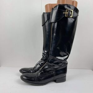 Tory Burch Women's Riding Boots size 9.5 M black leatherBuckle Zip Over Knee